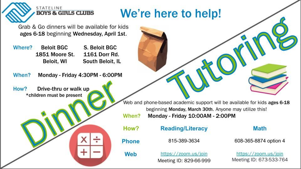 Boys and Girls Club Dinner and Tutoring