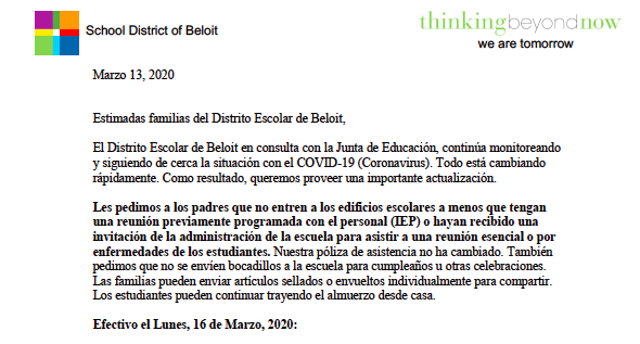 Spanish Carta Familiar Marzo 13