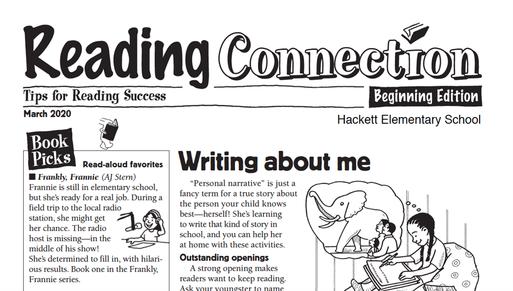 Thanks Hackett Elementary for this Reading Connection Newsletter