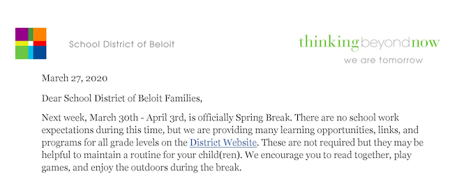 March 27 Spring Break Letter