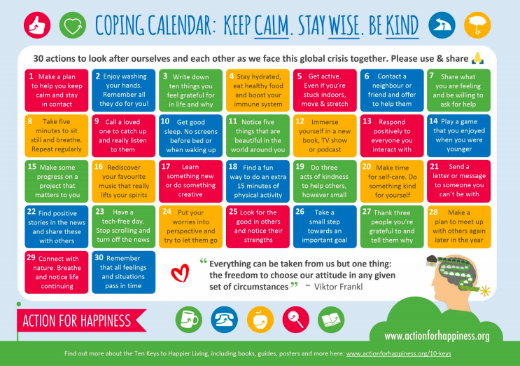 Coping Calendar: Keep Calm, Stay Wise, Be Kind