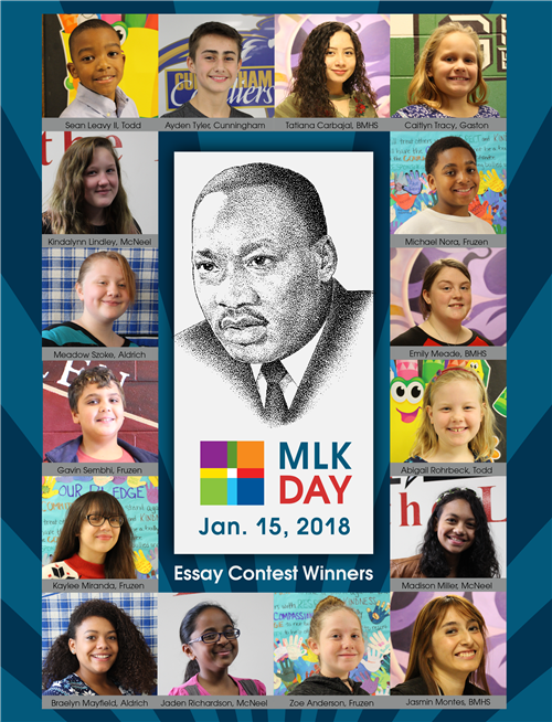 poster featuring photos of all 16 essay winners