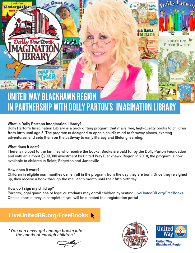 Imagination Library United Way Blackhawk Region Text