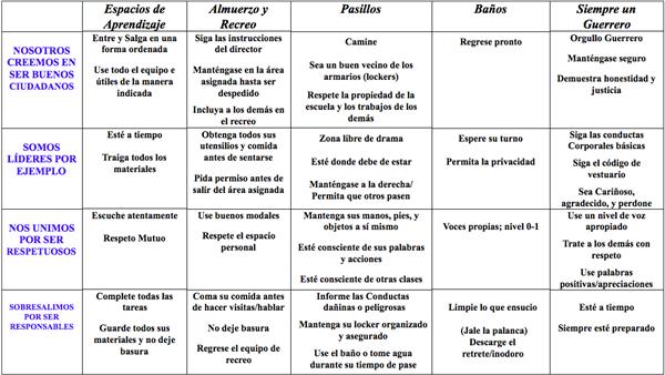 Aldrich Behavioral Matrix Spanish